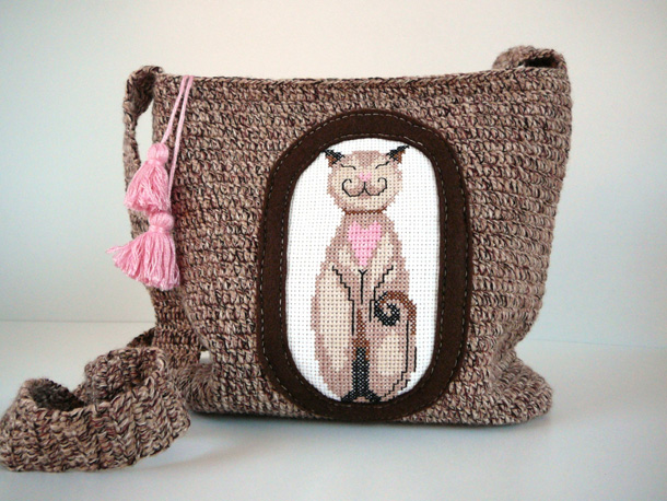 18 Cute crochet brown shoulder bag
