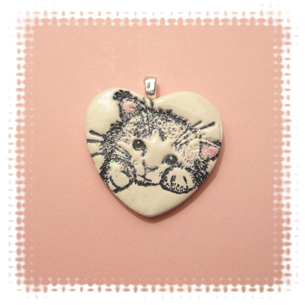 2 Cat Heart Pendant Valentines Day