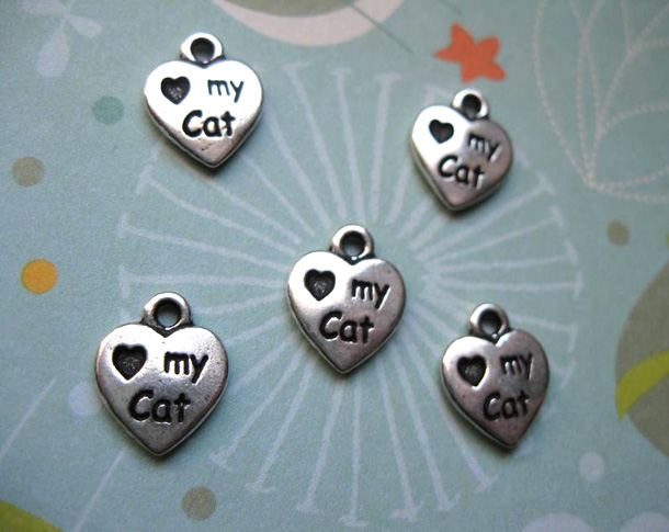 3 TierraCast Love My Cat Heart Charms in Silver Tone