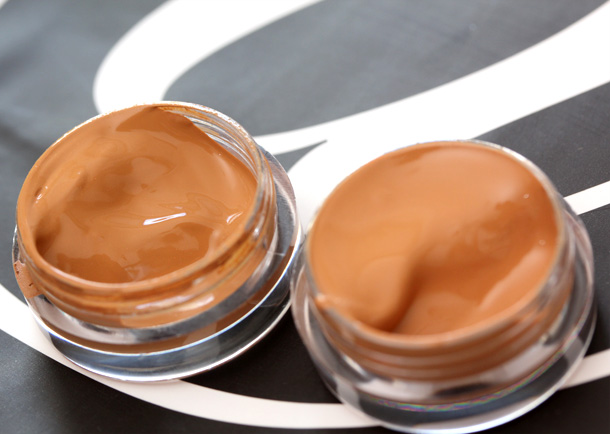 Dolce & Gabbana Perfect Matte Foundation in 144 on the left and 140 on the right