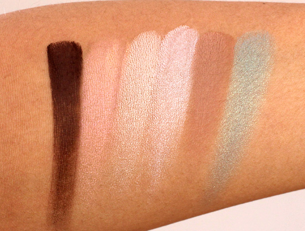 Eye Shadow swatches from the Aqualillies for Tarte palette from the left: Hammock, Bikini, Barefoot, Parasol, Sundeck and Poolside