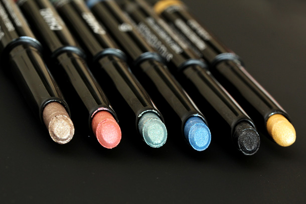 Chanel Stylo Eyeshadows from the left: Moon River, Pink Lagoon, Jade Shore, Blue Bay, Black Stream, Cool Gold