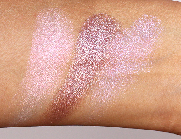 MAC Extra Dimension Eye Shadows swatches from the left: Opalesse, Smoky Mauve and Triple Impact