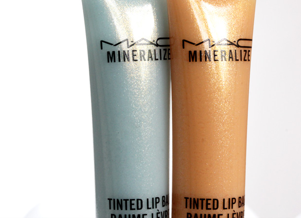 Creamy pale baby blue Glace on the left and creamy light peach Baking Beauty Tinted Lip Balm on the right ($19.50 each)