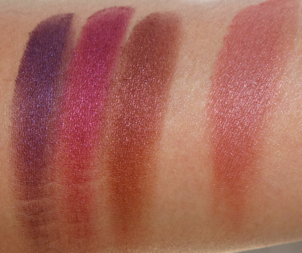 MAC Metallics Eye Shadow From the Left: Brazenly, Crimson Tryst and Deep Fixation; Powder Blush in Stylish Me on the right