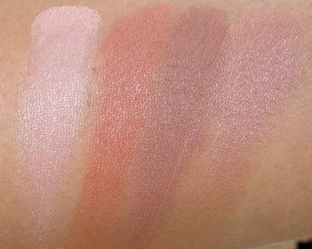 MAC Nudes & Metallics Eye Shadow Swatches From the Left: Bare Minimum, Body Conscious, Glimpse of Flesh and Exposed