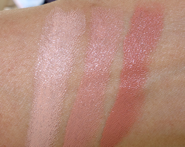 MAC Nudes & Metallics Lipstick Swatches from the left: Angel's Kiss, Nearly Nude and Wholesome