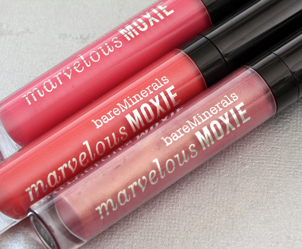 bareMinerals Marvelous Moxie Lipglosses from the left: Hot Shot, Party Starter and Smooth Talker