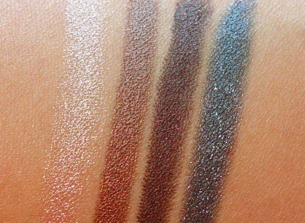 MAC Powerchrome Eye Pencil swatches from the left: Rich Glance, Copper Strip, Life's Luxury and Polished Jet