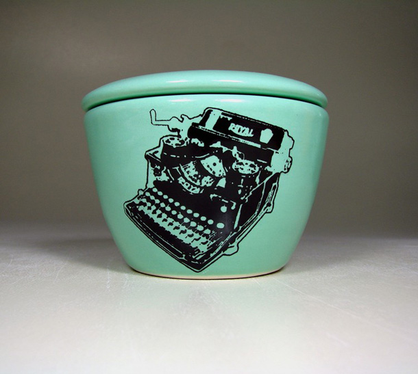 CircaCeramics Lidded Bowl Typewriter