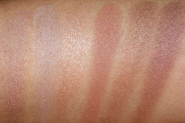 MAC Swatches from the left: Texture, Bronze, Twinks, Honesty, Era and Honey Lust