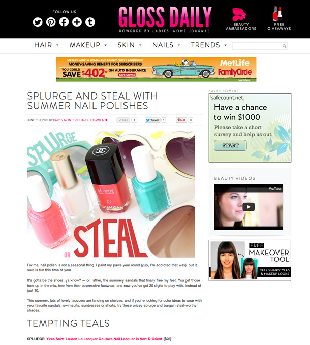 Splurge and Steal With Summer Nail Polishes