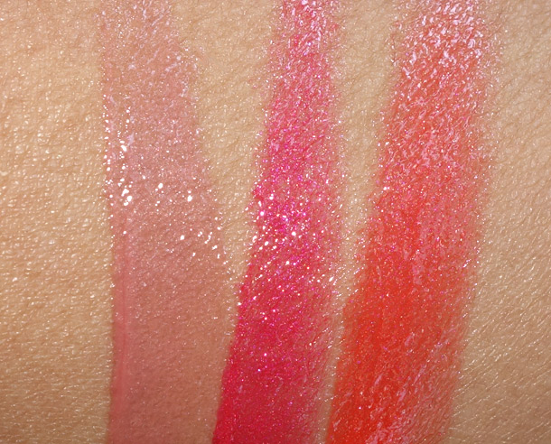 Too Faced Sun Shines Lip Gloss Swatches from the left: Mocha Freeze, Watermelon Ice and Papaya Slushie