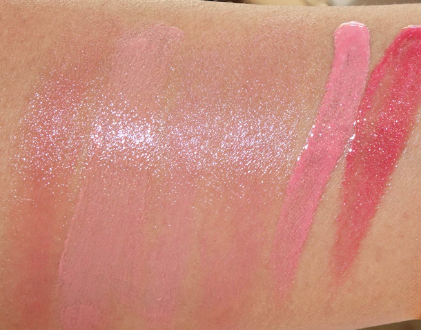 Jouer summer 2013 swatches from the left: SPF 15 Lip Sheers in Antigua, Ibiza, Maui and Santorini; Lip Glosses in Sorbet and Hibiscus