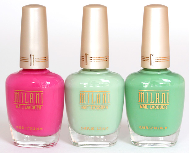 Milani Raspberry Delight 872, Creamy Pistachio 873 and Mint Chip 874