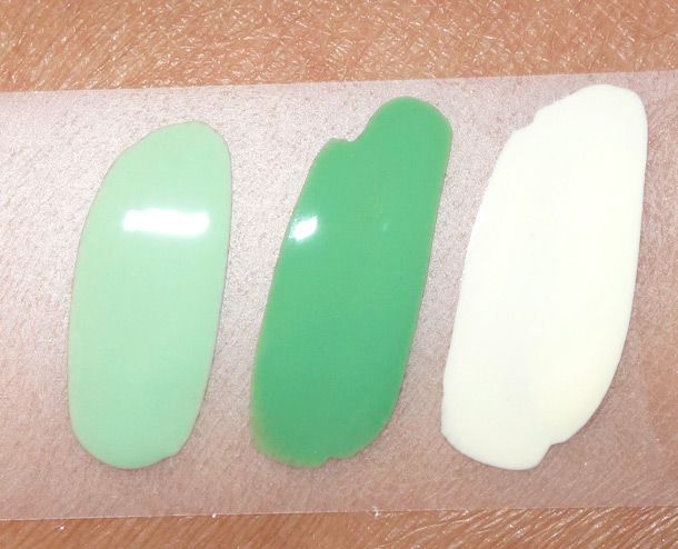 Milani Creamy Pistachio 873, Mint Chip 874 and Almond Bliss 875
