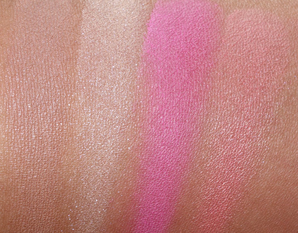 NARS Adult Content Swatches from the left: Zen (a natural beige), Miss Liberty (a soft, shimmering peach), Desire (a cotton candy pink) and Deep Throat (a flirty, sheer peach)