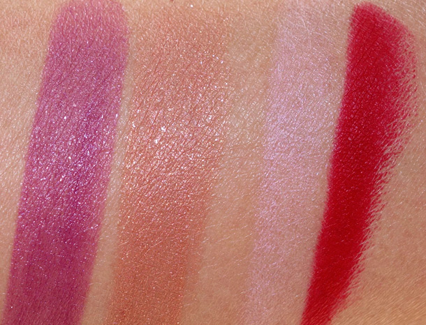 NARS Fall 2013 Swatches from the left: La Paz Pure Matte Lipstick, Peloponnese Pure Matte Lipstick, Paimpol Velvet Matte Lip Pencil, Mysterious Red Velvet Matte Lip Pencil