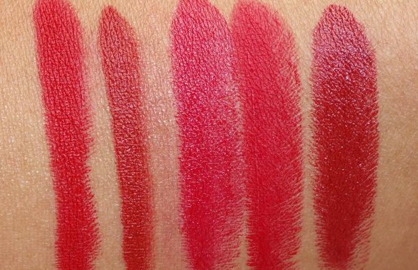From the left, for comparison: NARS Mysterious Red, NARS Forbidden Red, MAC Red, MAC RiRi Woo and MAC Dubonnet