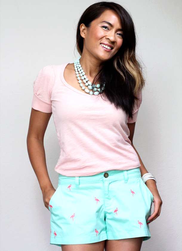 Mint green shorts with flamingo embroidery from Old Navy