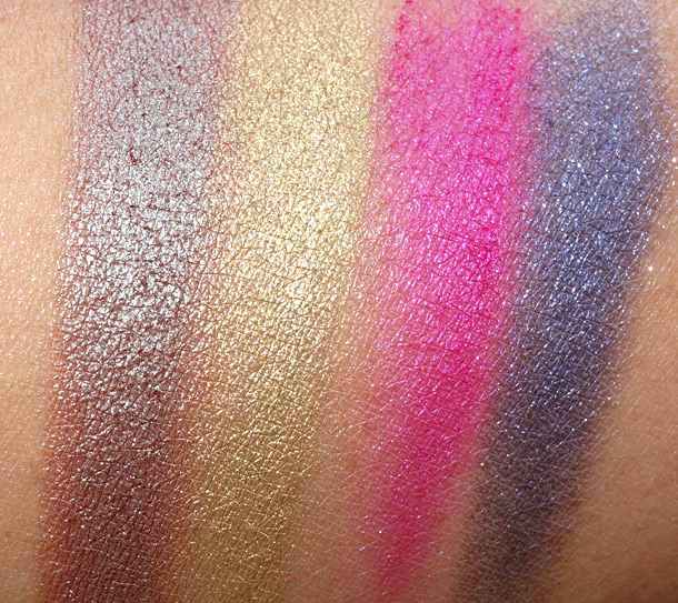 Too Faced Pretty Rebel Palette Swatches from the left: Girly, Instigator, Totally Fetch and Badass