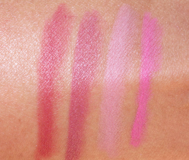 Urban Decay 24/7 Glide On Lip Pencil Swatches from the left: Manic, Rush, Native and Obsessed