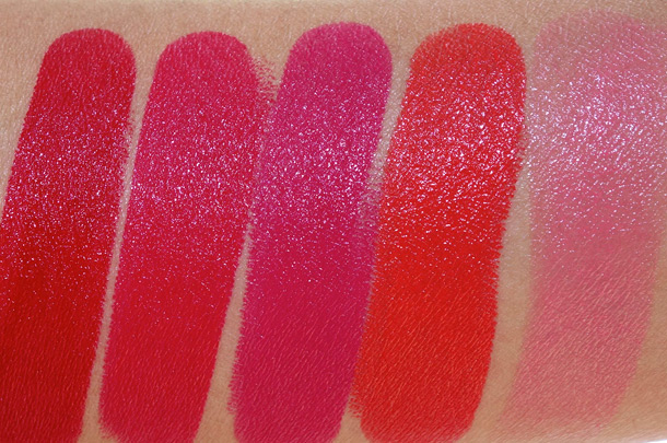 Urban Decay Revolution Lipstick Swatches from the left: F-Bomb, 69, Catfight, Bang and Streak
