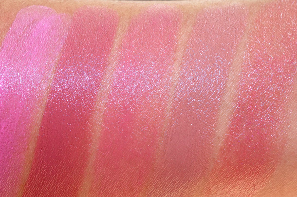 Urban Decay Revolution Lipstick Swatches from the left: Obsessed, Liar, Naked, Naked2 and Lovelight