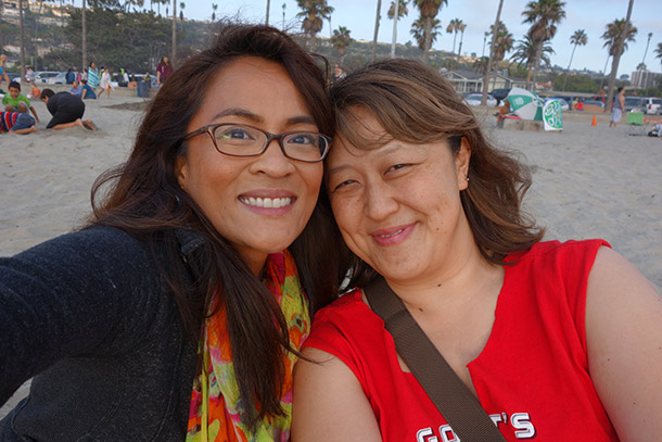 Karen and Cindy at La Jolla Beach