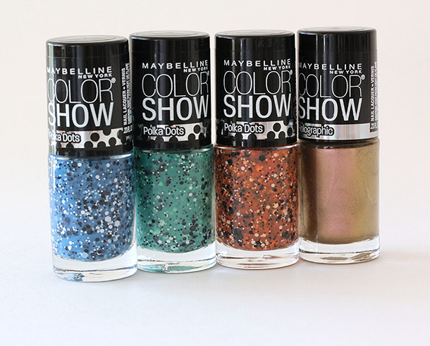 From the left: Maybelline Color Show Polka Dots Nail Polishes in Blue Marks the Spot, Drops of Jade and Dotty; on the far right, Maybelline Color Show Holographics Nail Polish in Alluring Rose