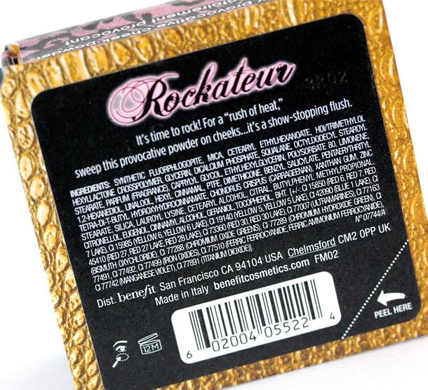 Benefit Rockateur Ingredients