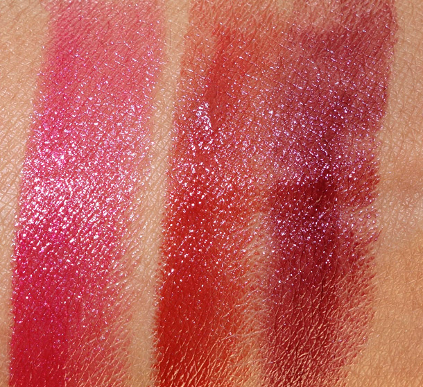 Clarins Joli Rouge Fall 2013 swatches from the left Pink Camellia, Spicy Cinnamon and Royal Plum