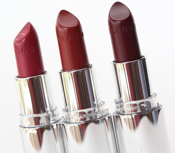 Clarins Joli Rouge Fall 2013 Lipsticks from the left Pink Camellia, Spicy Cinnamon and Royal Plum
