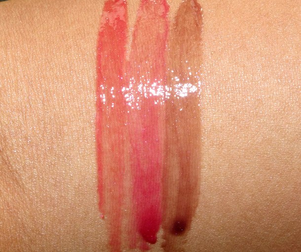 Guerlain Gloss d'Enfer Maxi Shine Swatches in 861 Madame Flirte, 860 Madame Batifole and 863 Madame Fascine