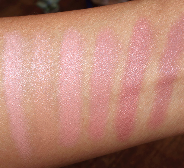 Hourglass Femme Nude Lip Stylo swatches from the left: Nude No. 1 Palest Pink, Nude No 2. Honey Beige, Nude No. 3 Nude Rose, Nude No. 4 Pink Beige, Nude No. 5 Shimmering Golden Peach and Nude No. 6 Mauve Beige