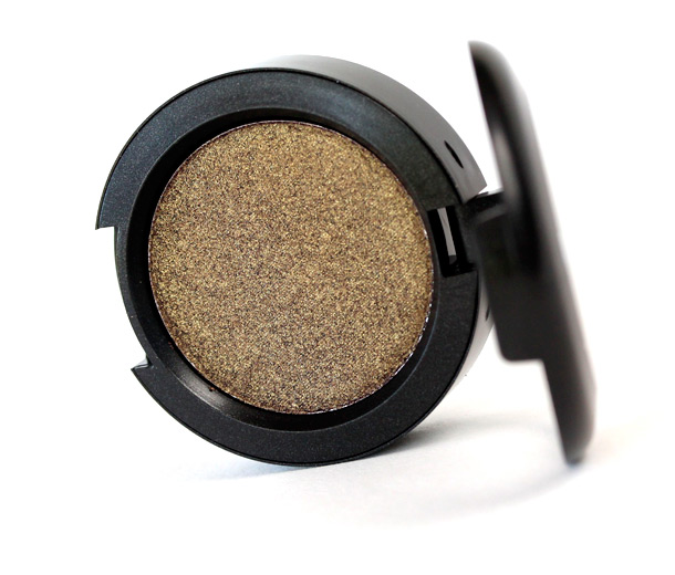 MAC Damson Pressed Pigment, a deep brown with golden pearl and a frost finish