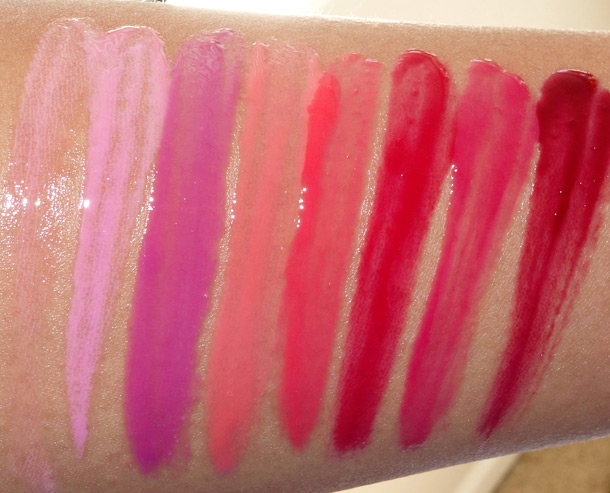 MAC Sheen Supreme Lipglass Swatches from the left: Bubble Gum, K-Wow, Simply Wow, Heart & Seoul, Kiss Kiss, Blushing Berry, Gwi-Yo-Mi and Glorious Intent