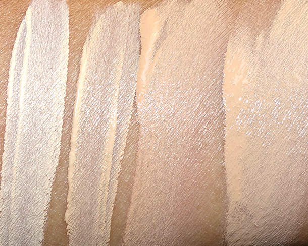 Dolce & Gabbana Swatches from the left: Concealers in Classic and Creamy; Perfect Luminous Foundation in Rose Beige and Perfect Matte Liquid Foundation in Warm Rose