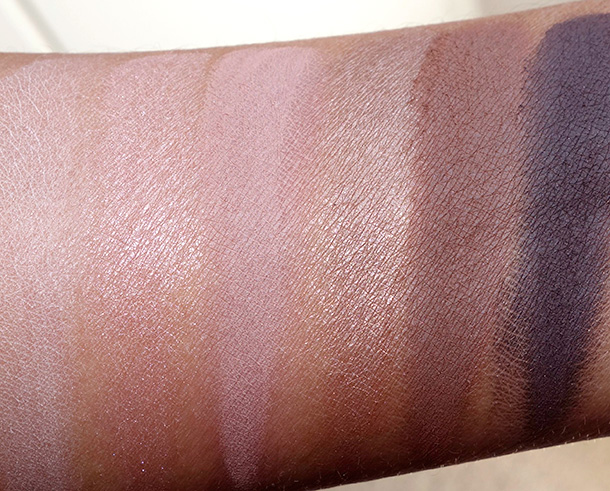 Laura Mercier Artist's Palette 2013 Swatches from the left: Vanilla Nuts, Primrose, Fresco, Bamboo, Truffle, Espresso Bean