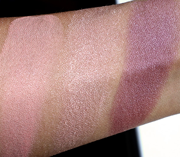 MAC Divine Night Swatches: Mineralize Blushes in Lured to Love, Talk of the Town and Lavish Living