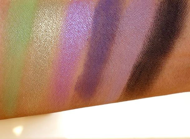 MAC Spider Queen Pro Palette X 6 Swatches from the left: Lime, Moss, Deep Purple, Indian Ink, Dusty Purple and Carbon