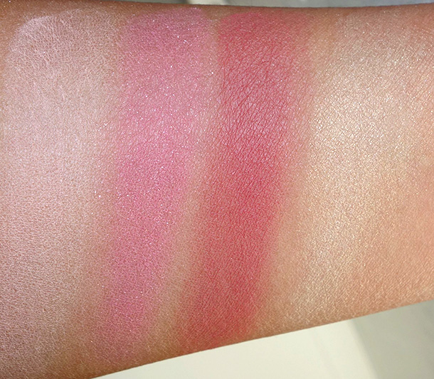 NARS Splendor in the Grass swatches from the left: Sex Appeal, Angelika, Dolce Vita and Albatross