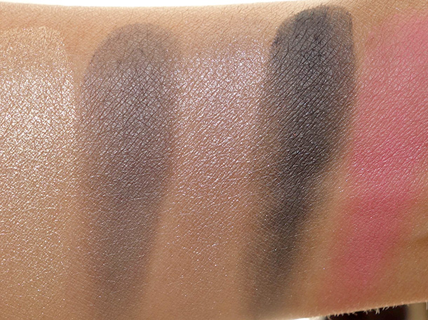 Tarte Gorgeous Getaways Swatches from the left: Eyeshadows in Gold Coast, Eiffel Tower, Space Needle and Midnight in Paris; Blush in Lighthearted