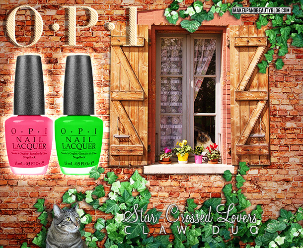 Tabs the Cat for the OPI Star-Crossed Lovers Nail Duo