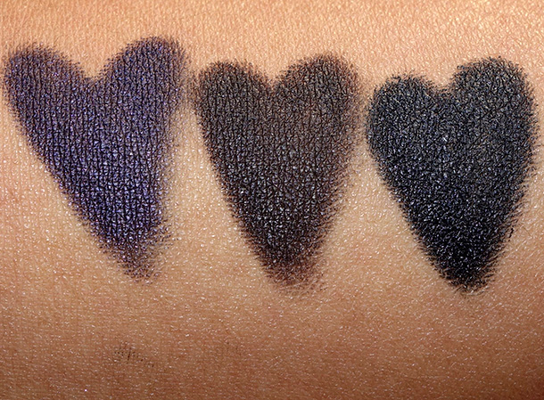 Bobbi Brown Crayon Kajal Swatches from the left: Black Amethyst, Black Coffee and Noir