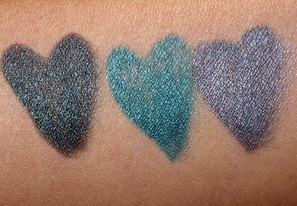 Bobbi Brown Crayon Kajal Swatches from the left: Jade, Pacific and Storm