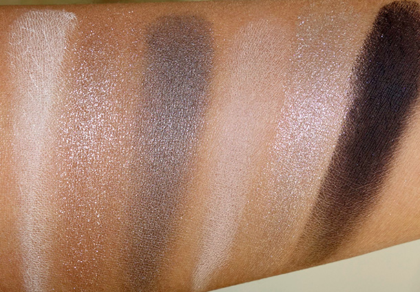 Bobbi Brown Smokey Cool Eye Palette swatches from the left: Ivory Eye Shadow, Graphite Sparkle Eye Shadow, Smokey Grey Shimmer Wash Eye Shadow, Truffle Eye Shadow, Platinum Sparkle Eye Shadow and Caviar Eye Shadow