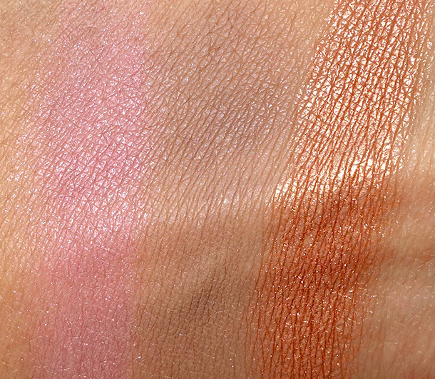 Jane Eye Shadow Swatches from the left: Rosy Posy, Willow and Eclipse