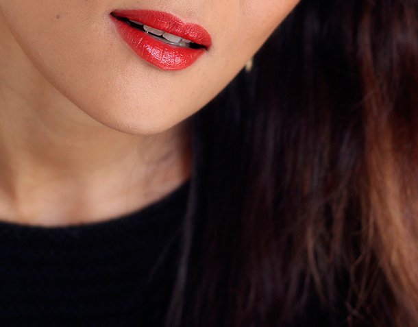 Jouer Ava Lipstick, a blood orange, a neutral that works with both warm and cool toned gals of any hair color