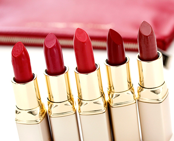 Jouer Perfect Red Collection lipsticks from the left: Ava, Grace, Lana, Simone and Sophia